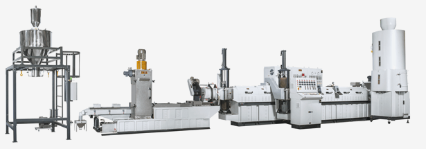 Side Force Feeder Type <br>Double Section Recycling Pelletizing Extrusion Line